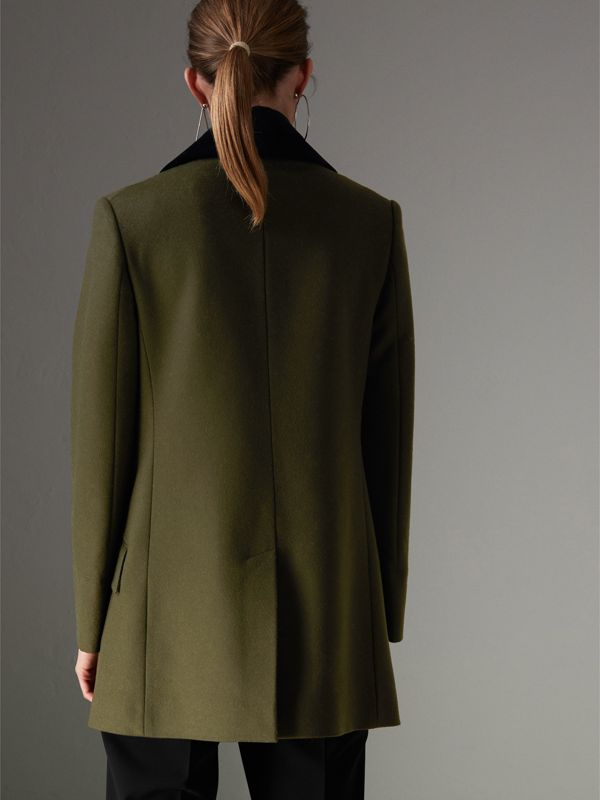 Velvet Collar Wool Military Coat in Olive - Women | Burberry - cell image 2