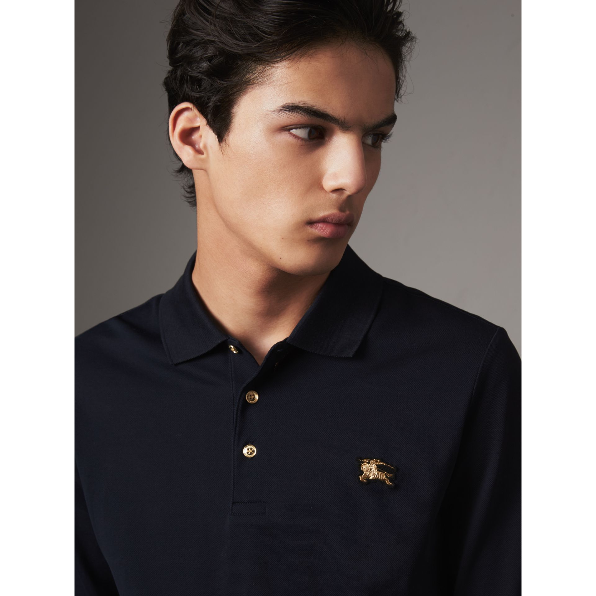 Long-sleeve Cotton Piqué Polo Shirt in Navy - Men | Burberry United Kingdom - gallery image 1