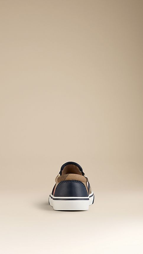 Navy House Check Cotton Slip-On Trainers - Image 2