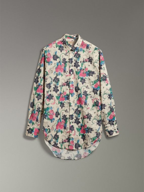 Watercolour Floral Print Shirt in Natural - Men | Burberry Canada - cell image 3