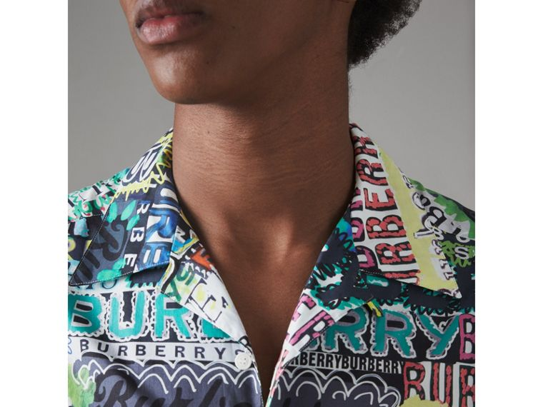 Graffiti Logo Print Cotton Shirt in Bright Green - Men | Burberry - cell image 1