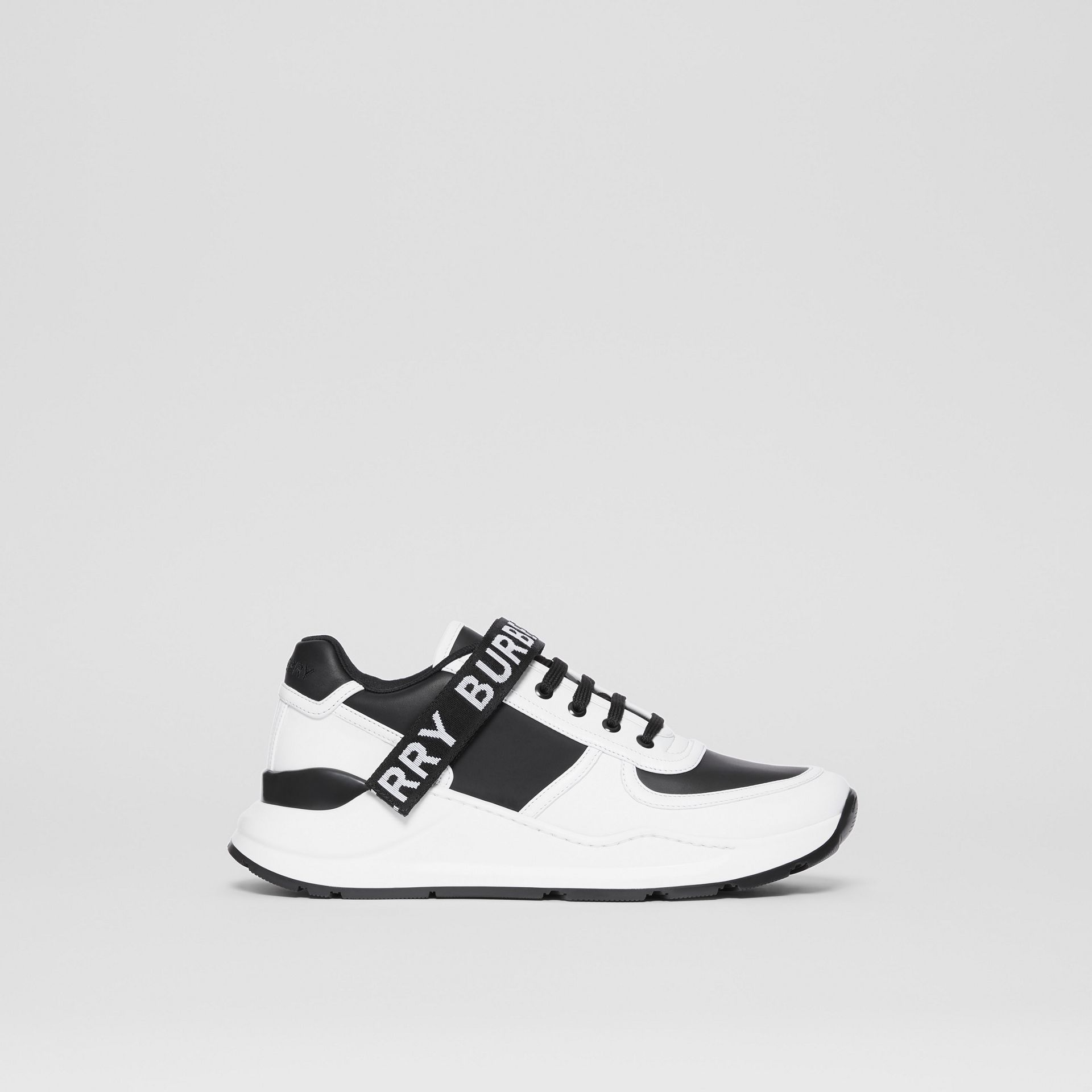 Logo Detail Leather and Nylon Sneakers in Black/optic White - Women | Burberry Singapore - gallery image 4