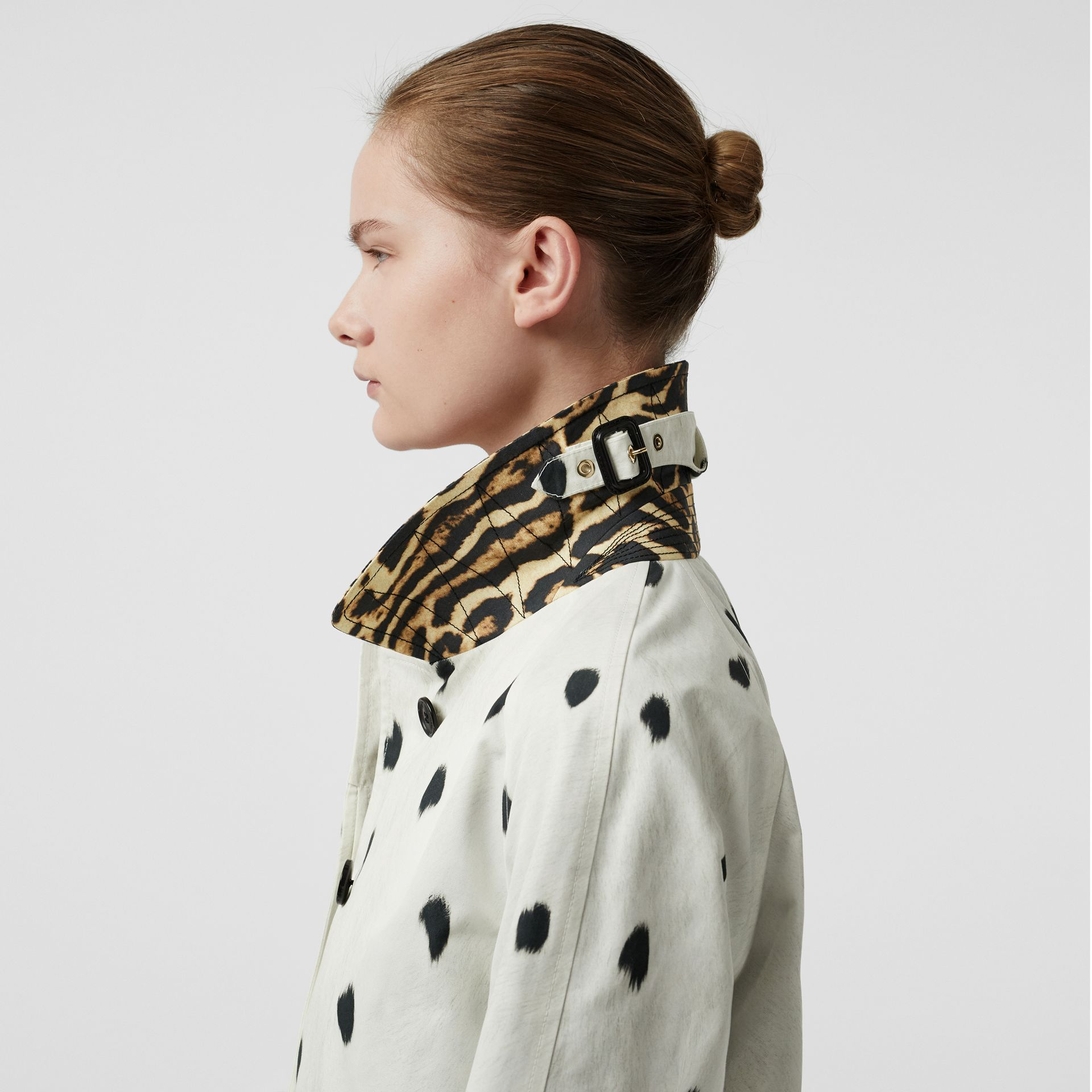 Animal Print Cotton Car Coat in White - Women | Burberry - gallery image 5