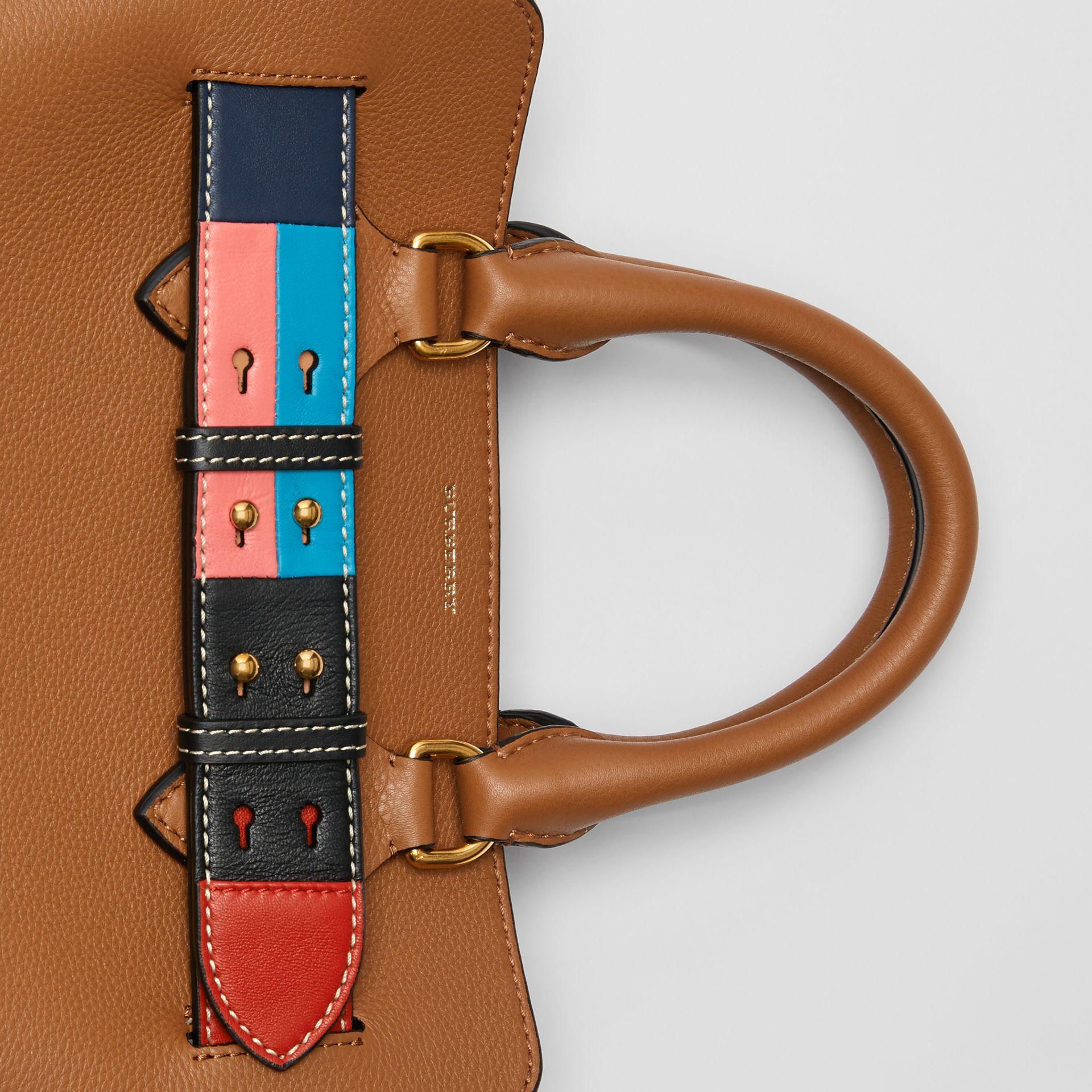 The Small Leather Colour Block Detail Belt Bag in Cognac - Women | Burberry Singapore - gallery image 1