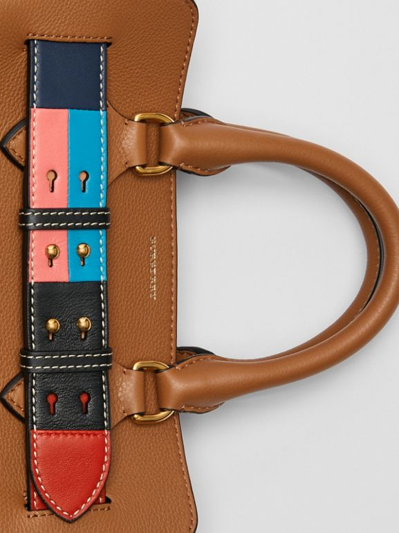 The Small Leather Colour Block Detail Belt Bag in Cognac - Women | Burberry Singapore - cell image 1