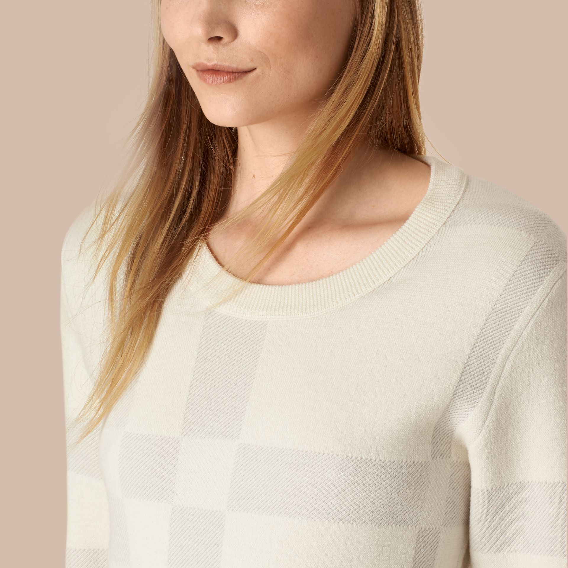 Natural white Check Knit Wool Blend Sweater Natural White - gallery image 4