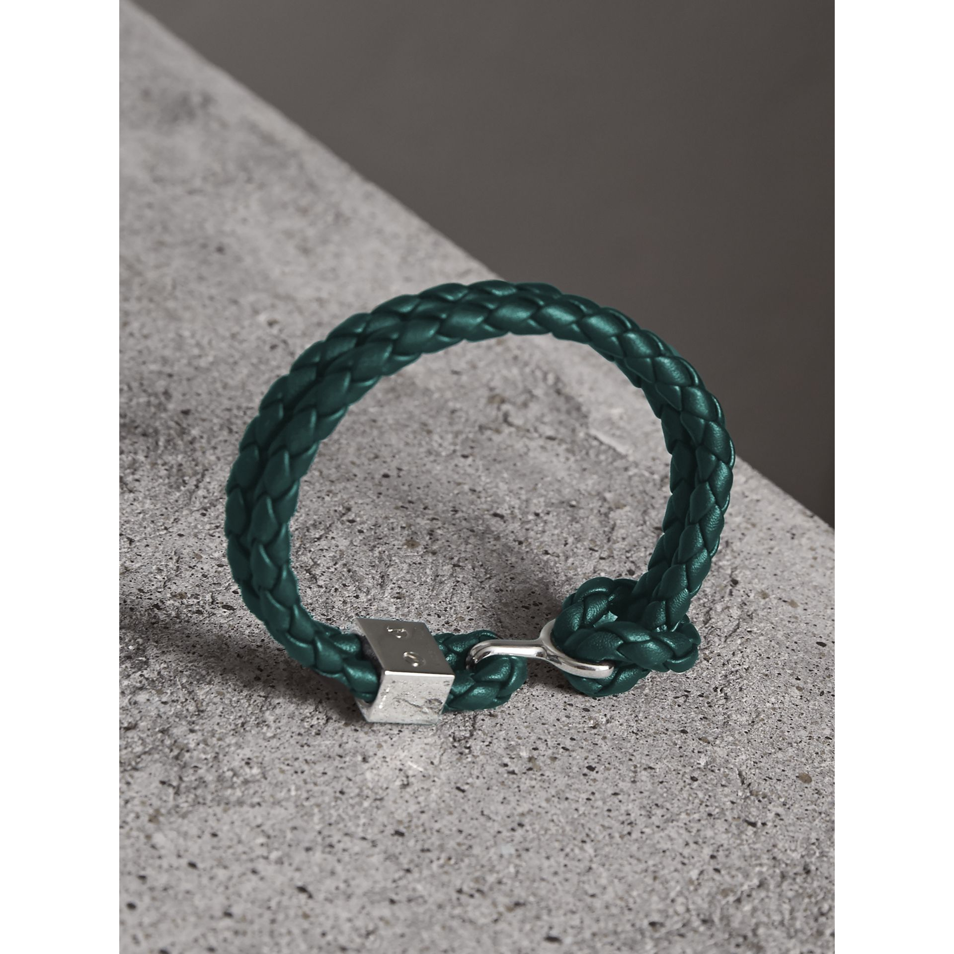 Braided Leather Bracelet in Dark Teal - Men | Burberry Australia - gallery image 3