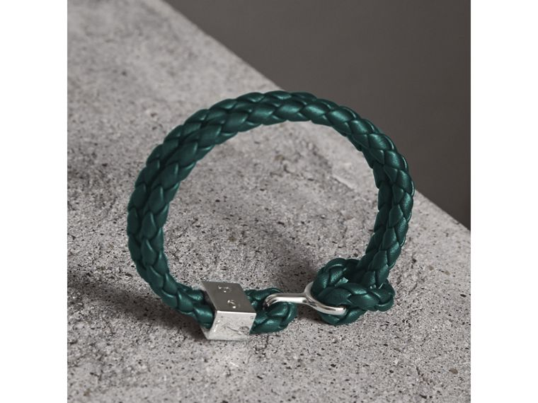 Braided Leather Bracelet in Dark Teal - Men | Burberry Australia - cell image 2