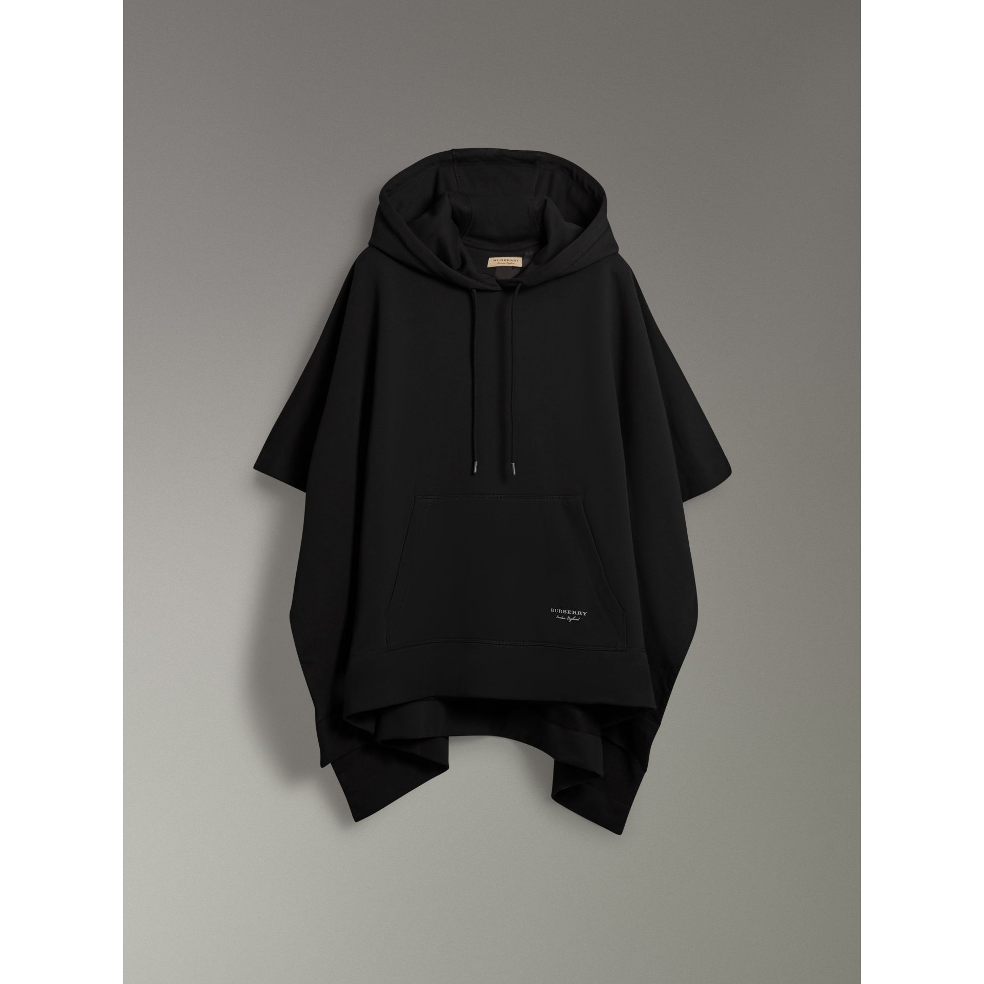 Cotton Jersey Hooded Cape in Black - Women | Burberry - gallery image 3