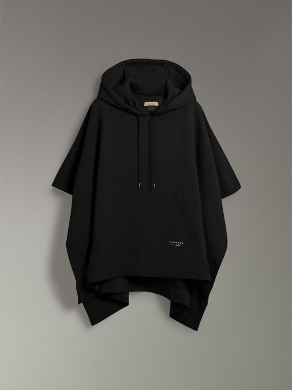 Cotton Jersey Hooded Cape in Black - Women | Burberry Canada - cell image 3