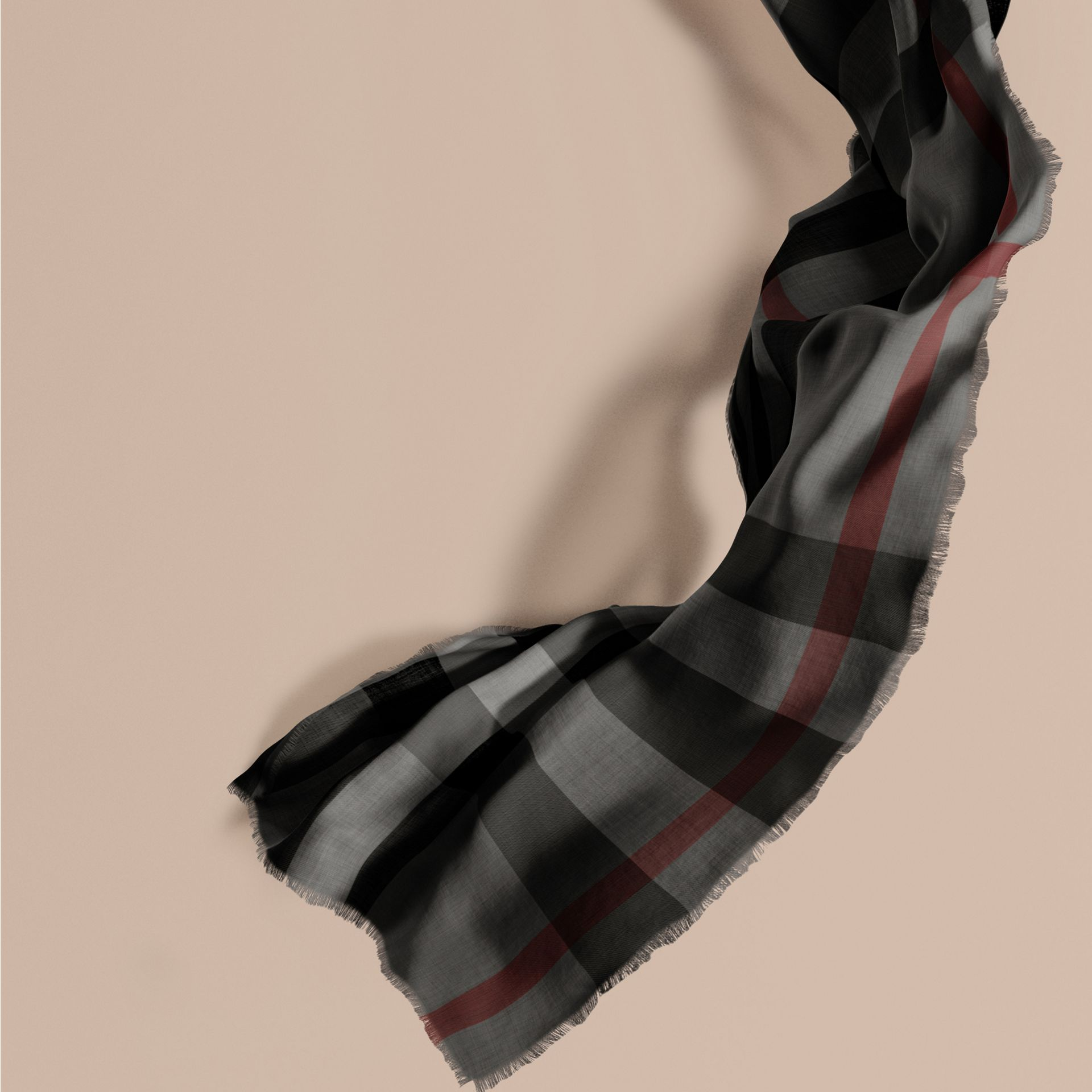 Charcoal The Lightweight Cashmere Scarf in Check Charcoal - gallery image 1