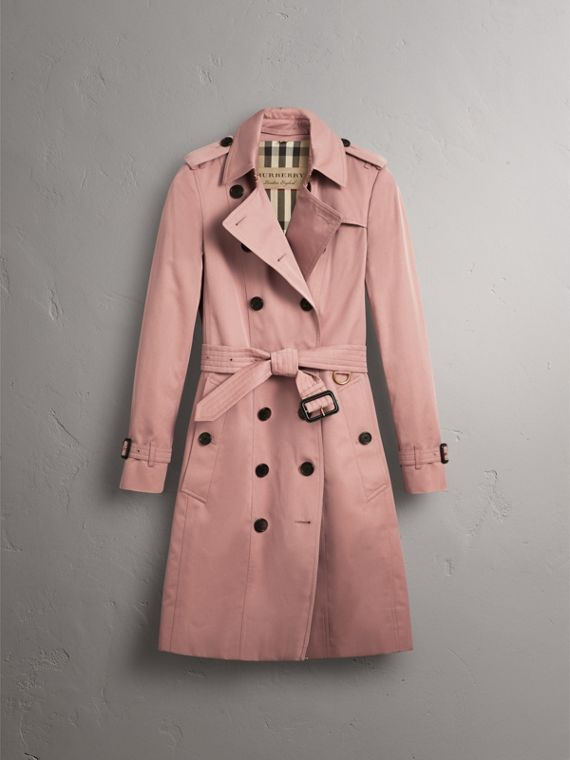 Cotton Gabardine Long Trench Coat in Blush - Women | Burberry - cell image 3