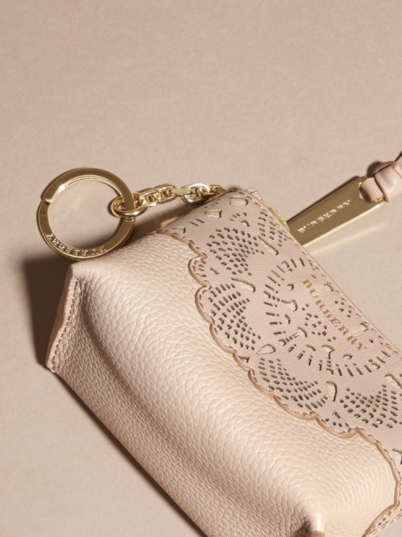 Pale apricot Laser-cut Lace Leather Coin Case - cell image 2