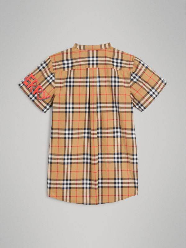 Short-sleeve Graffiti Print Check Cotton Shirt in Antique Yellow | Burberry - cell image 3