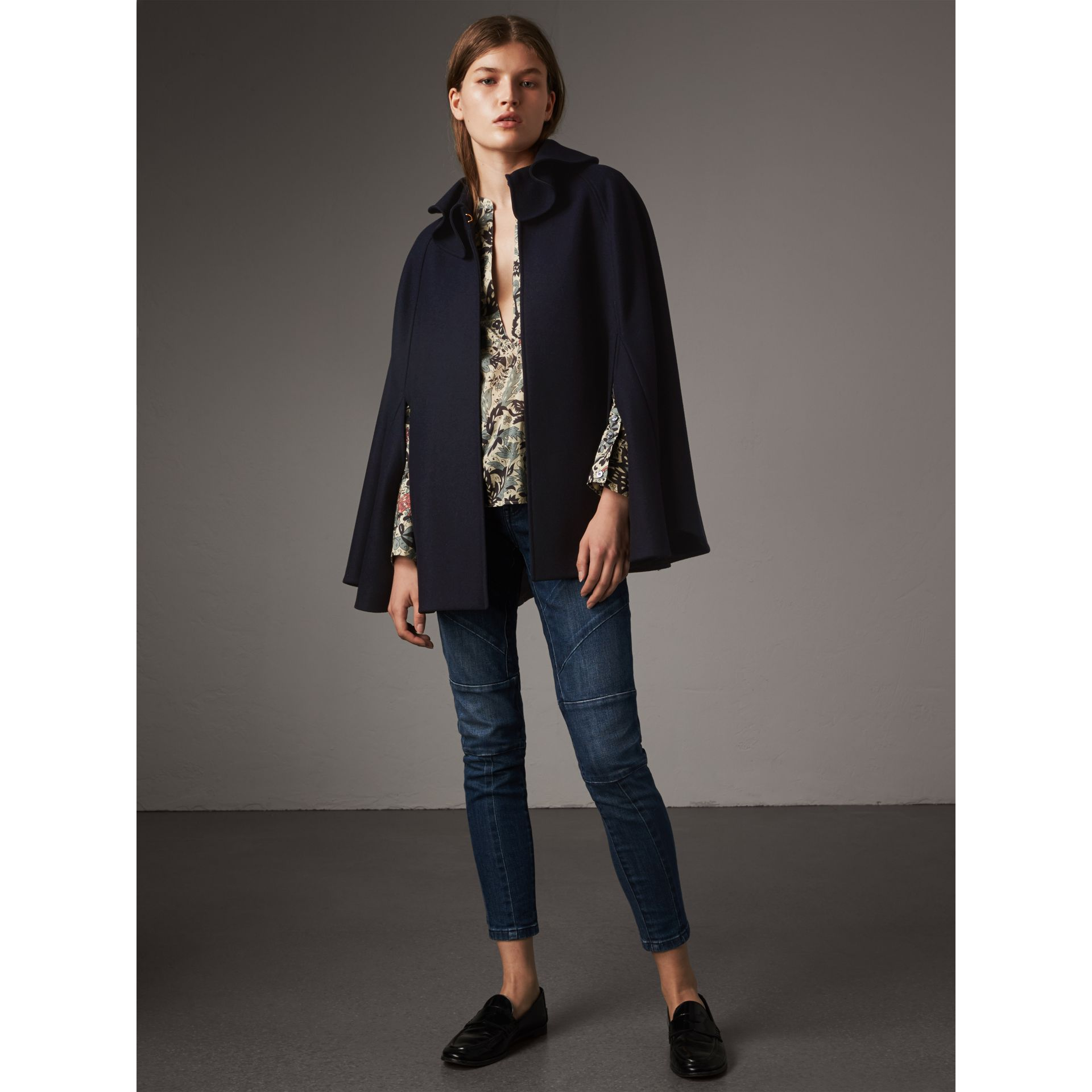 Ruffle Collar Wool Cape in True Navy - Women | Burberry Canada - gallery image 4