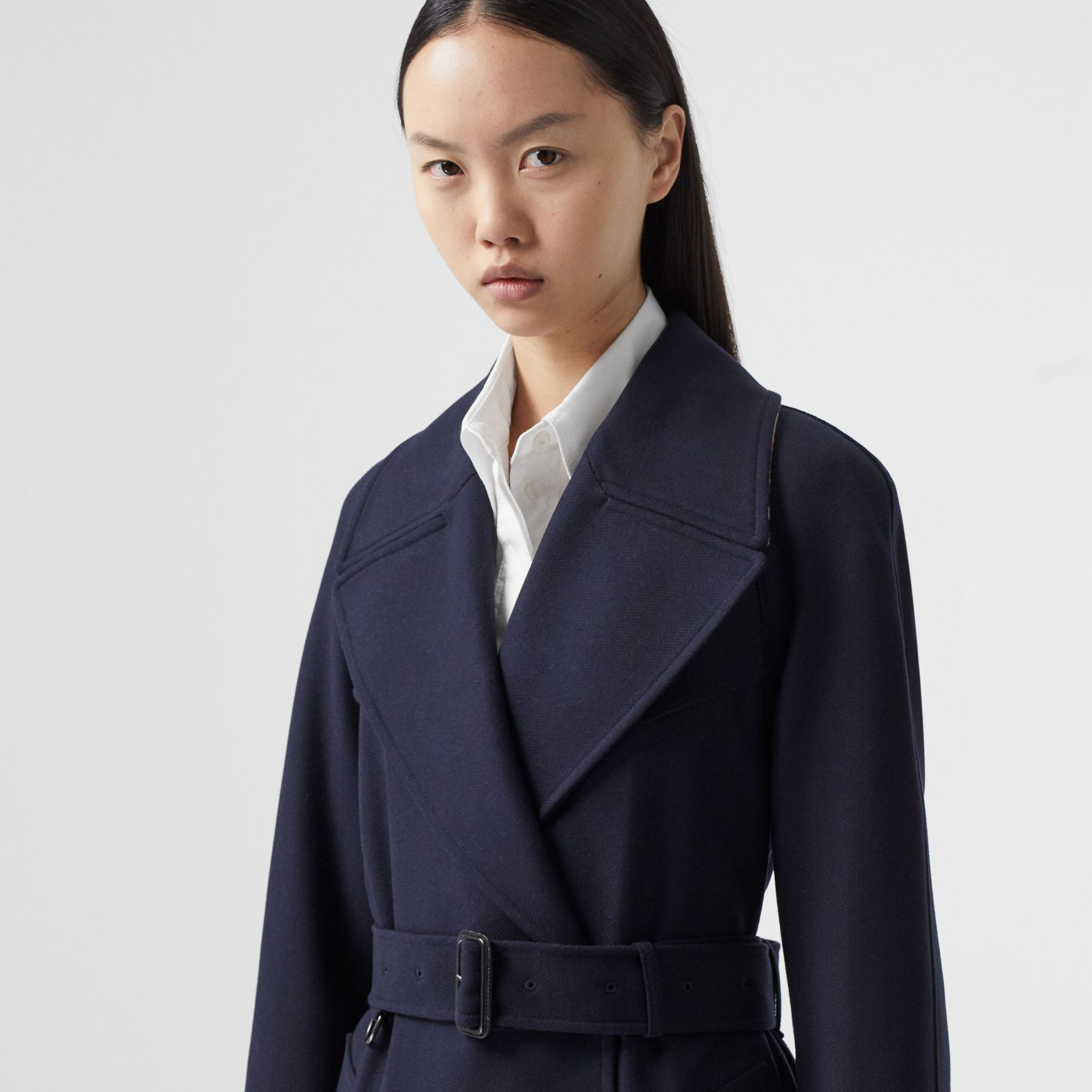Herringbone Wool Cashmere Blend Trench Coat in Navy - Women | Burberry - gallery image 1