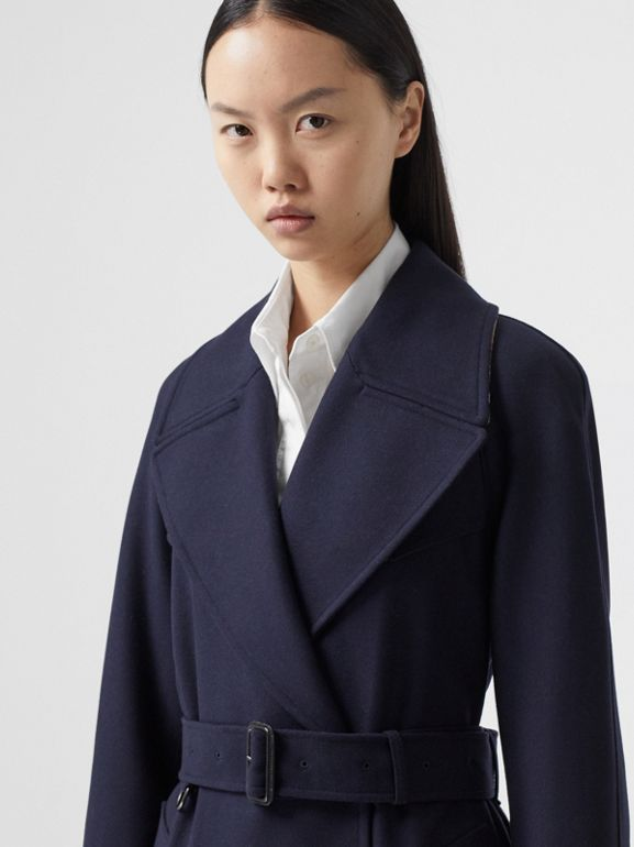 Herringbone Wool Cashmere Blend Trench Coat in Navy - Women | Burberry - cell image 1