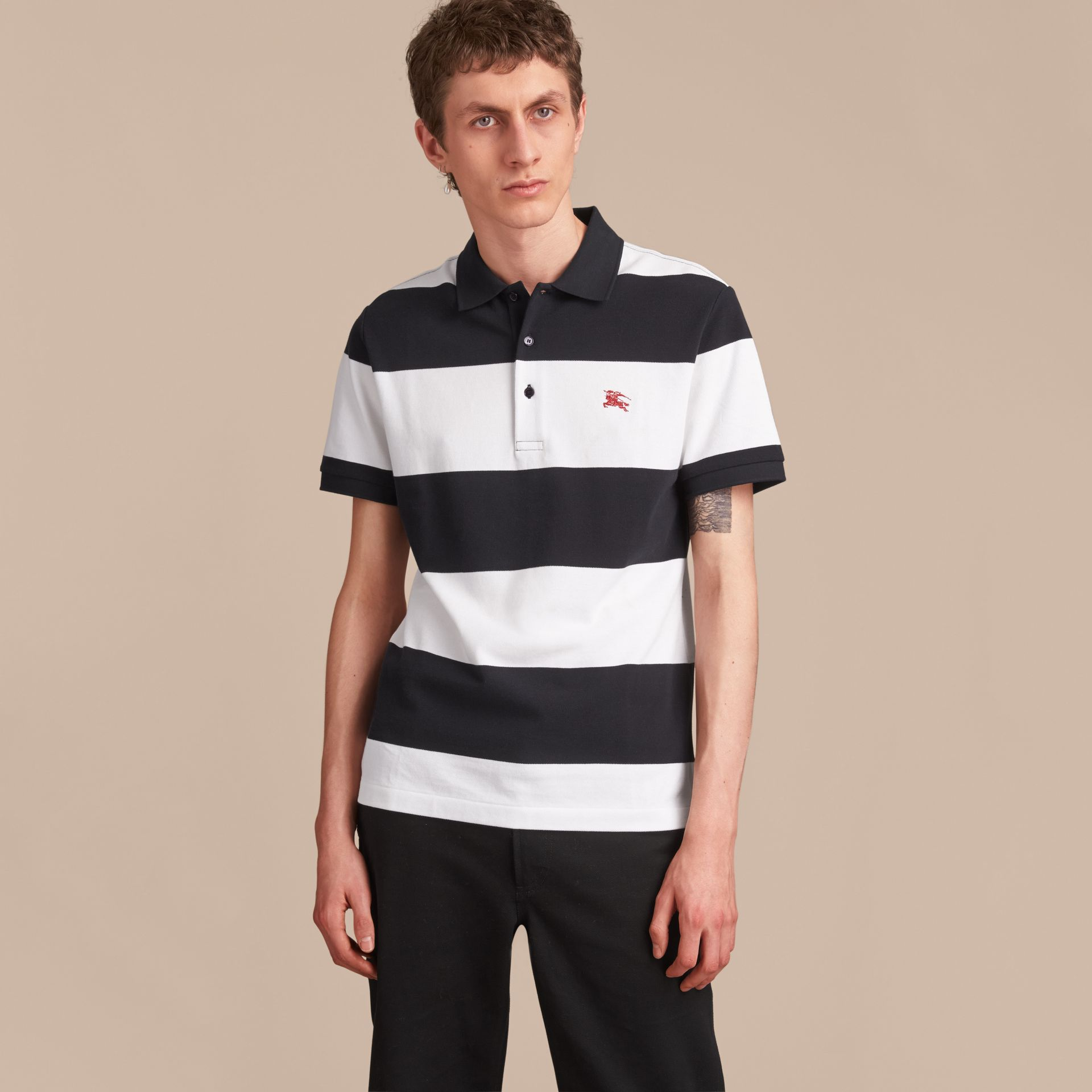 Striped Cotton Piqué Polo Shirt in White/navy - Men | Burberry - gallery image 6