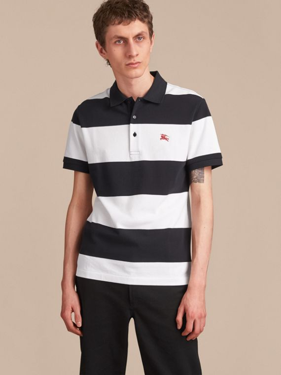 Striped Cotton Piqué Polo Shirt in White/navy