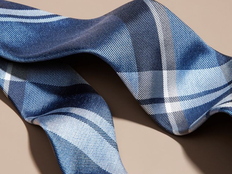 Mineral blue Modern Cut Check Jacquard Silk Tie Mineral Blue - cell image 1