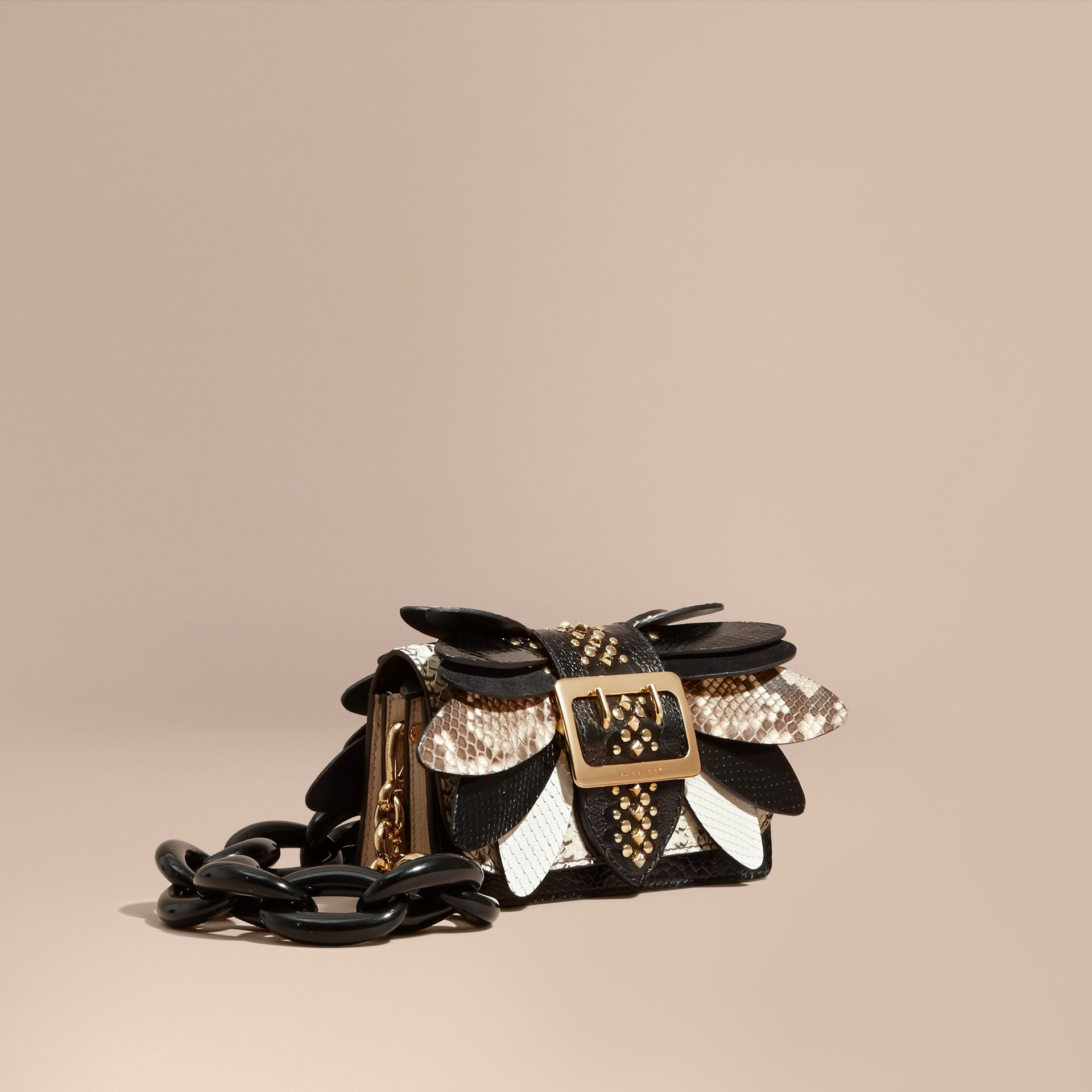 The Small Buckle Bag in Leather and Snakeskin Appliqué - gallery image 1