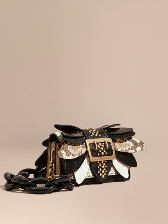 The Small Buckle Bag in Leather and Snakeskin Appliqué