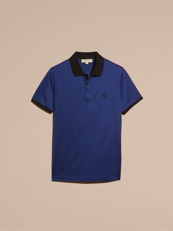 Indigo Fitted Cotton Polo Shirt with Tonal Trim Indigo - cell image 3