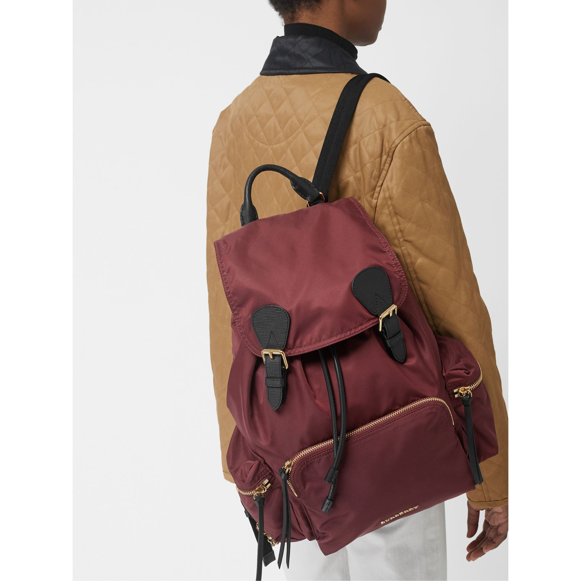 The Large Rucksack in Technical Nylon and Leather in Burgundy Red - Women | Burberry Canada - gallery image 2