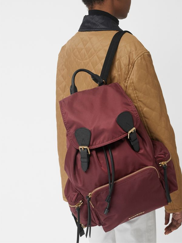 The Large Rucksack in Technical Nylon and Leather in Burgundy Red - Women | Burberry - cell image 2
