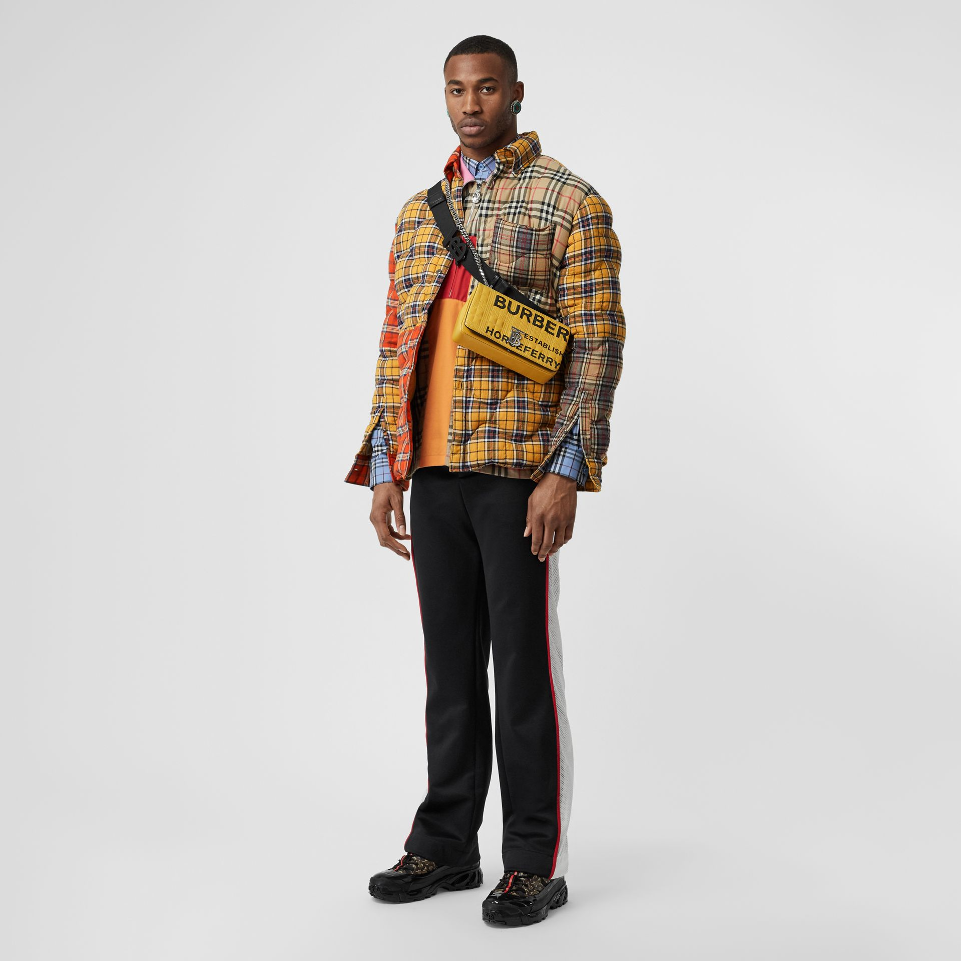 Contrast Check Cotton Flannel Puffer Overshirt in Yellow/white - Men | Burberry - gallery image 0