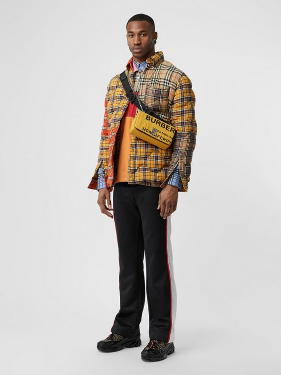 Contrast Check Cotton Flannel Puffer Overshirt in Yellow/white