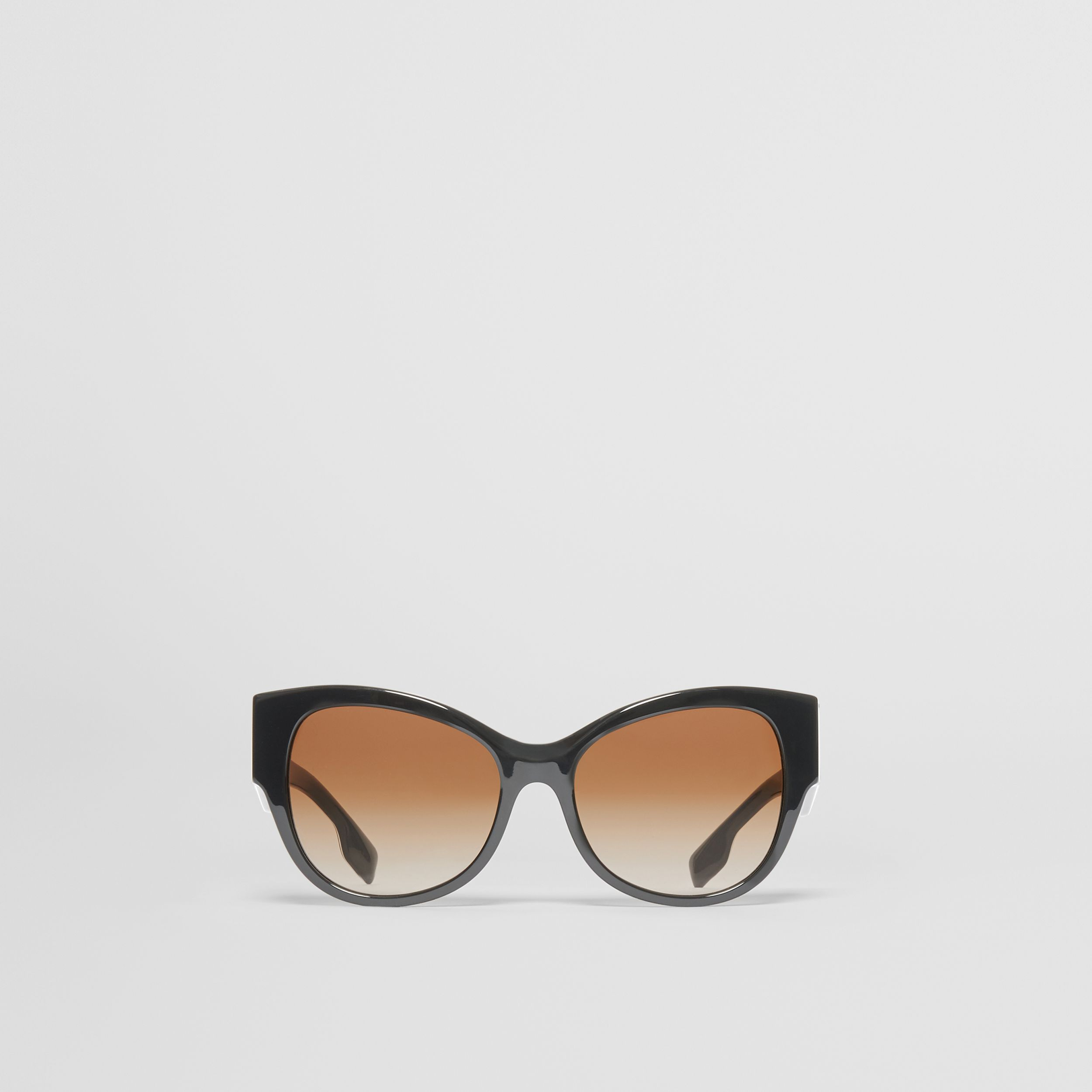 Monogram Detail Butterfly Frame Sunglasses in Black / Beige - Women | Burberry - 1
