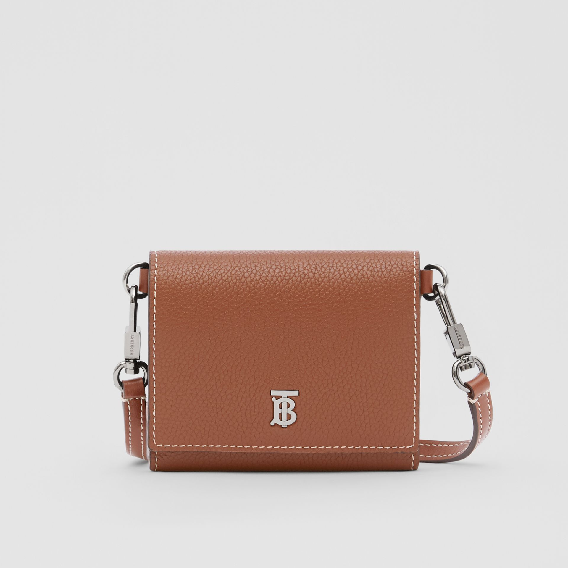 Small Grainy Leather Wallet with Detachable Strap in Tan | Burberry - gallery image 0