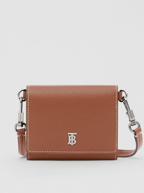 Small Grainy Leather Wallet with Detachable Strap in Tan