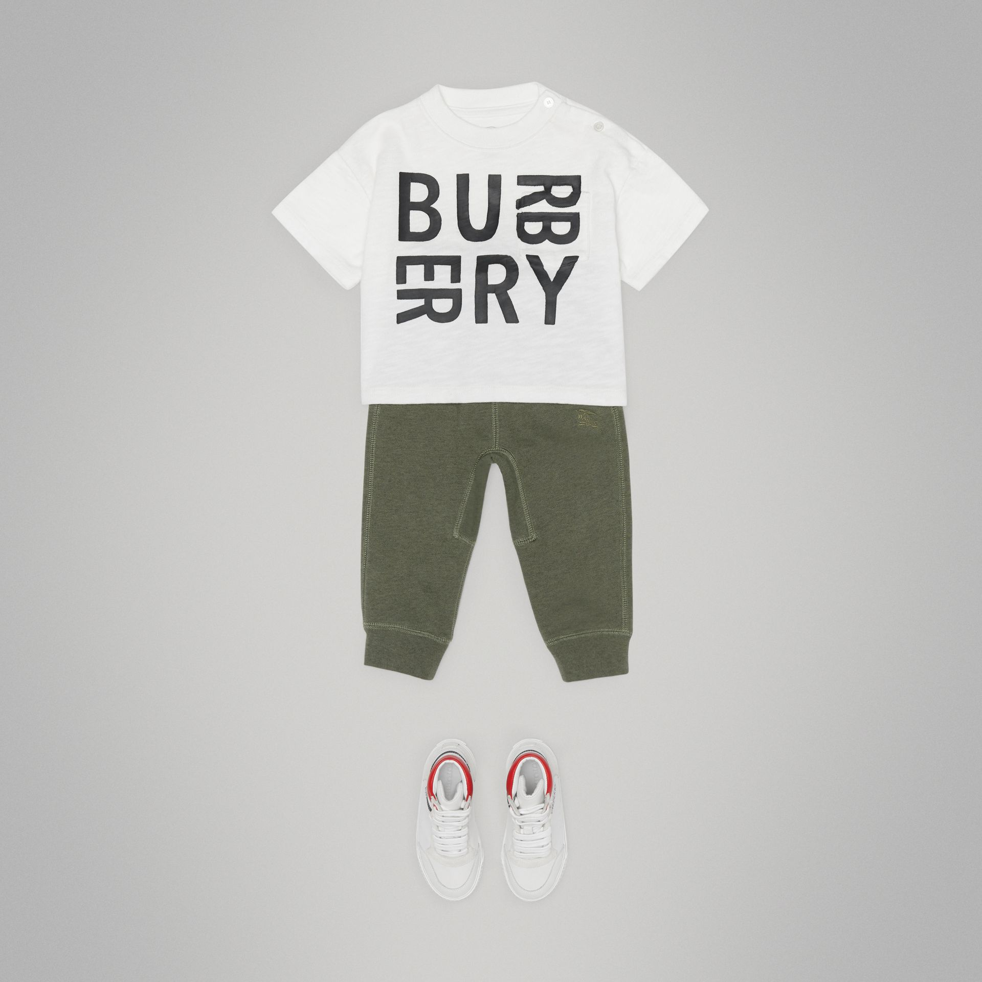 Logo Print Cotton T-shirt in White - Children | Burberry Canada - gallery image 2
