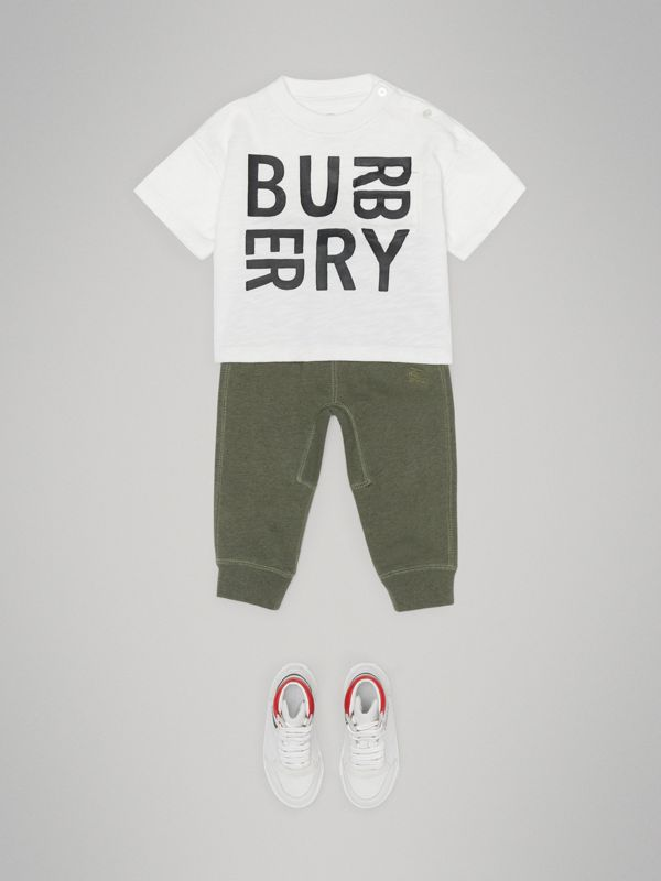 Logo Print Cotton T-shirt in White - Children | Burberry Canada - cell image 2