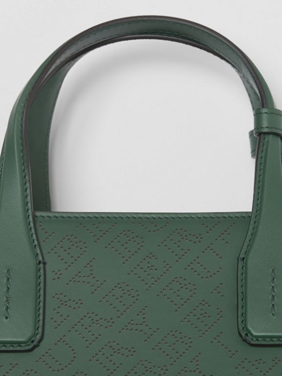 The banner media in pelle con logo traforato (Verde Vintage) - Donna | Burberry - cell image 1