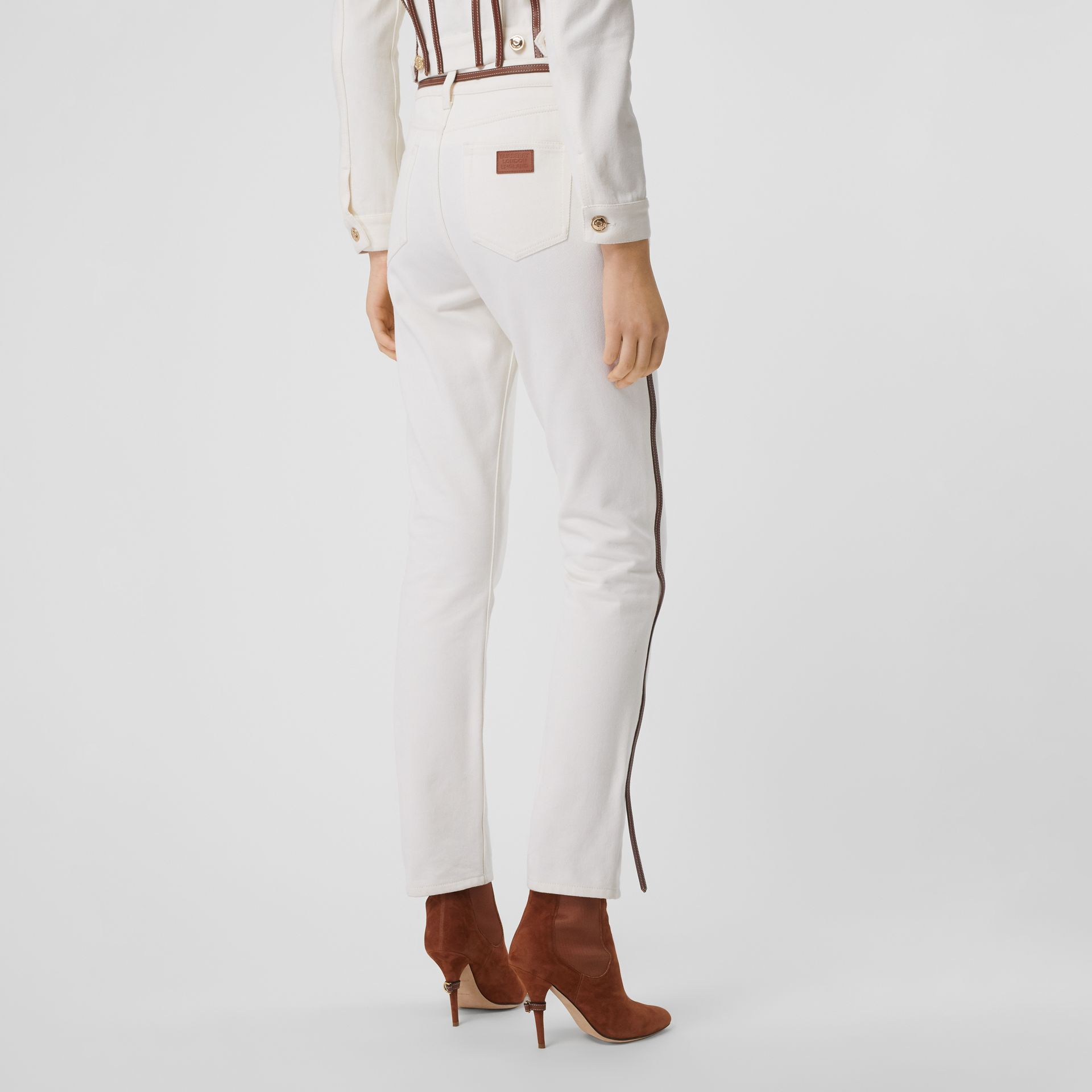 Straight Fit Leather Harness Detail Jeans in Off White - Women | Burberry - gallery image 2