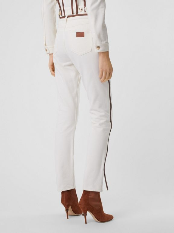 Straight Fit Leather Harness Detail Jeans in Off White - Women | Burberry - cell image 1