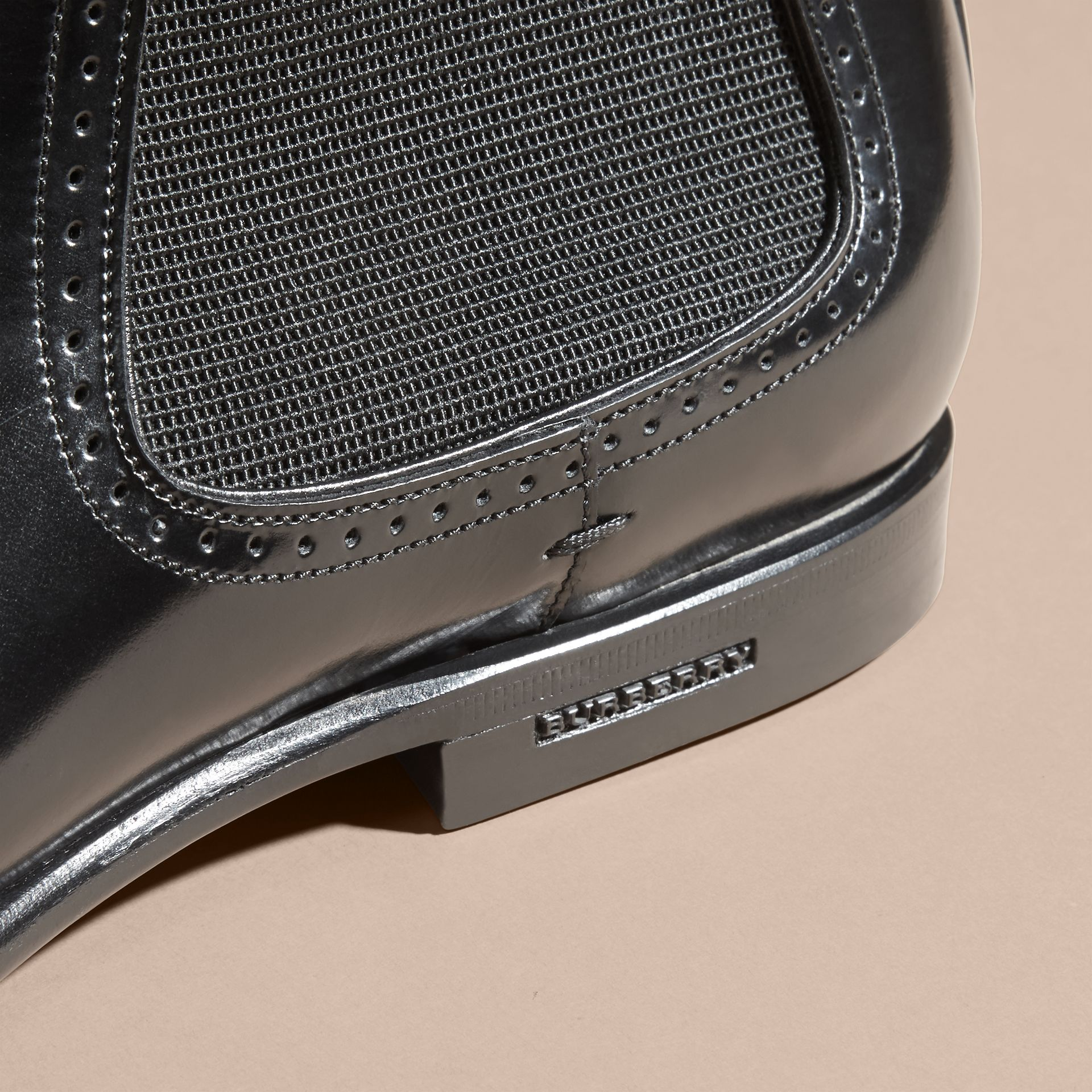 Black Perforated Detail Leather Chelsea Boots Black - gallery image 2