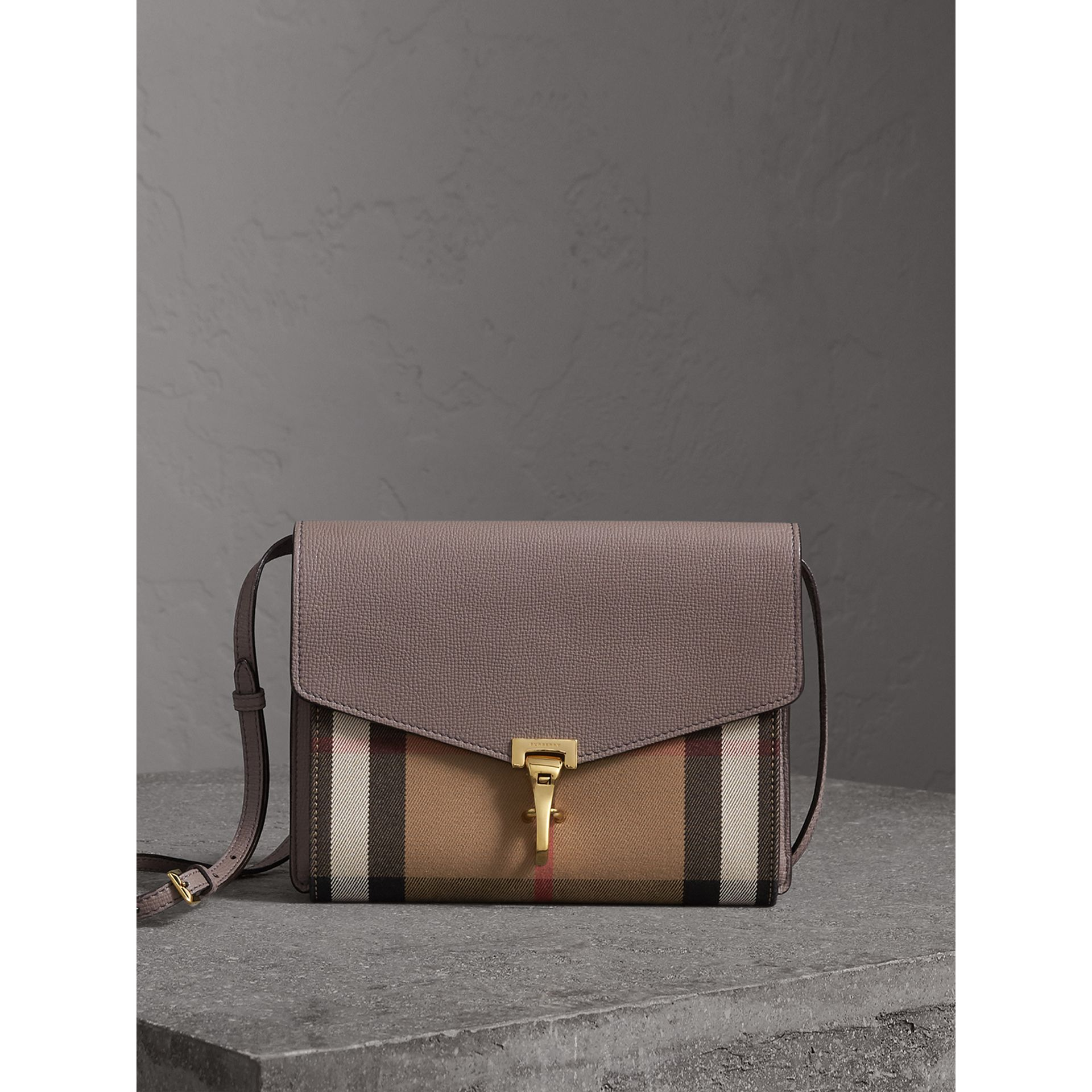 Small Leather and House Check Crossbody Bag in Thistle Grey - Women | Burberry Canada - gallery image 1