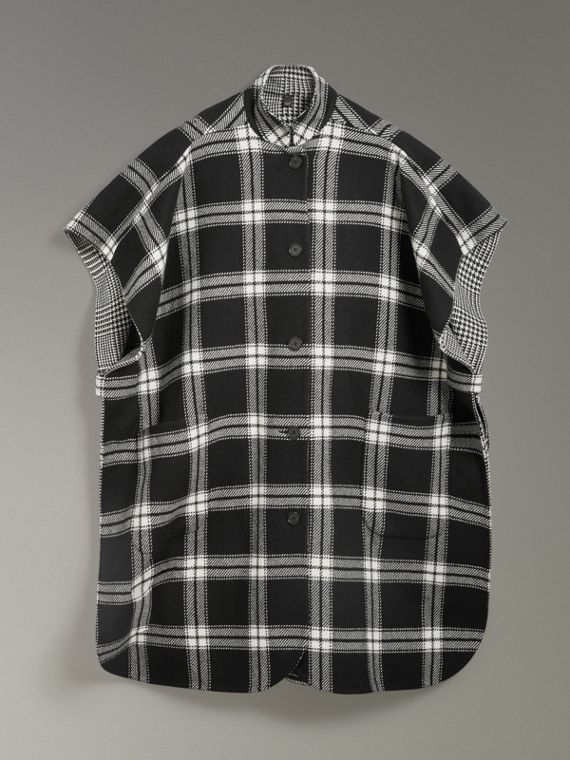 Reversible Check Wool Cashmere Oversized Poncho in Black