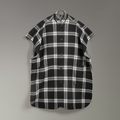 BURBERRY Reversible Check Wool Cashmere Oversized Poncho