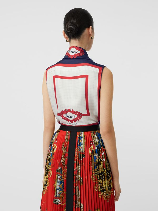 Sleeveless Archive Print Pussy-bow Blouse in Blue - Women | Burberry - cell image 2