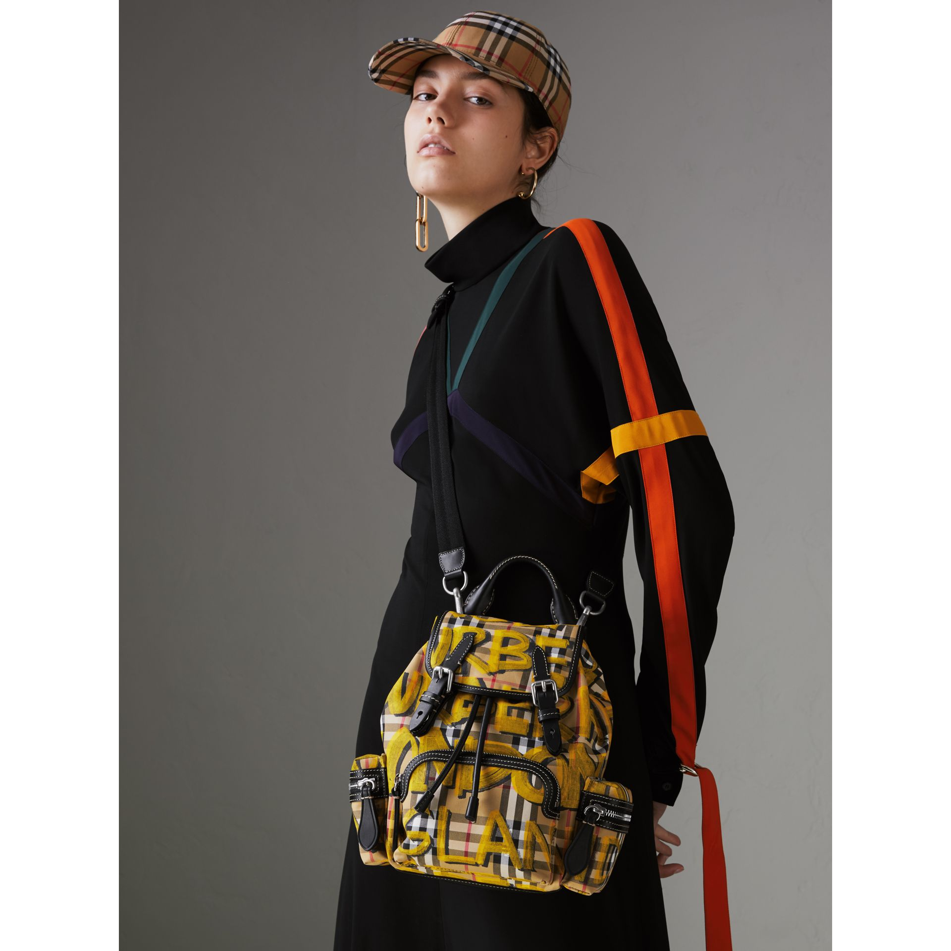 The Small Crossbody Rucksack in Graffiti Print Vintage Check in Black - Women | Burberry Singapore - gallery image 3