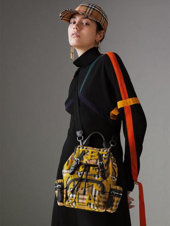 The Small Crossbody Rucksack in Graffiti Print Vintage Check in Black - Women | Burberry Canada - cell image 3
