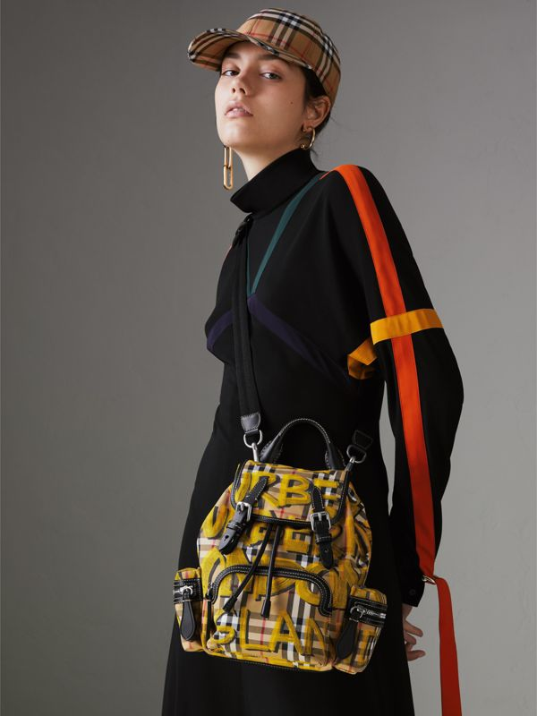 The Small Crossbody Rucksack in Graffiti Print Vintage Check in Black - Women | Burberry United Kingdom - cell image 3