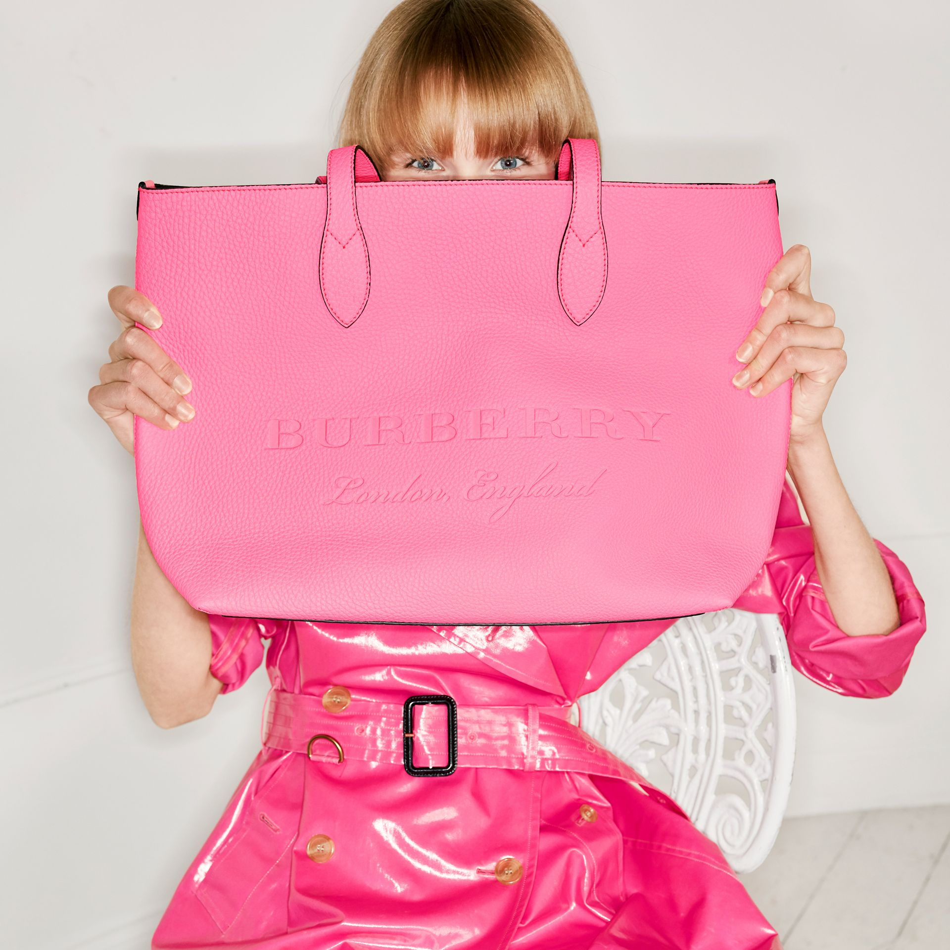 Embossed Leather Tote in Neon Pink | Burberry - gallery image 7