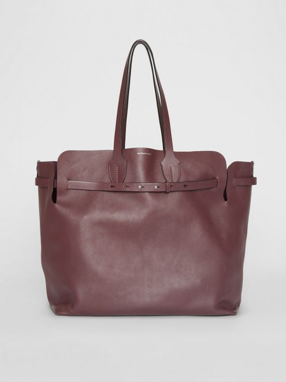 Grand sac The Belt en cuir doux (Bordeaux Intense)