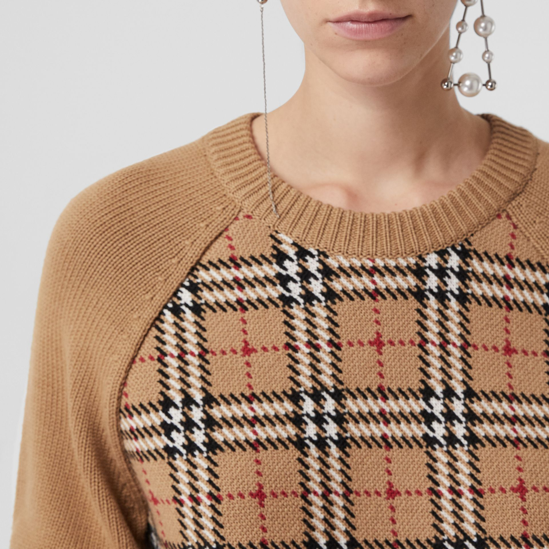 Vintage Check Wool Jacquard Sweater in Antique Yellow - Women | Burberry United Kingdom - gallery image 1